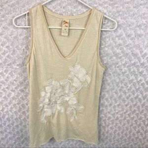 Anthropologie C. Keer Bead Embroidered Top